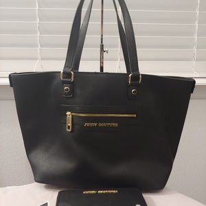 Juicy Couture tote bag & wallet. Black gold blue